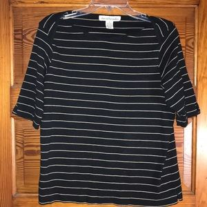 David Brooks Black White Striped Blouse XL
